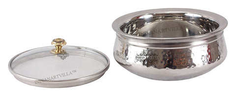 Steel Serving Handi with Glass Lid|1000 ML Capacity|Serving Briyani Dishes|Home Hotel