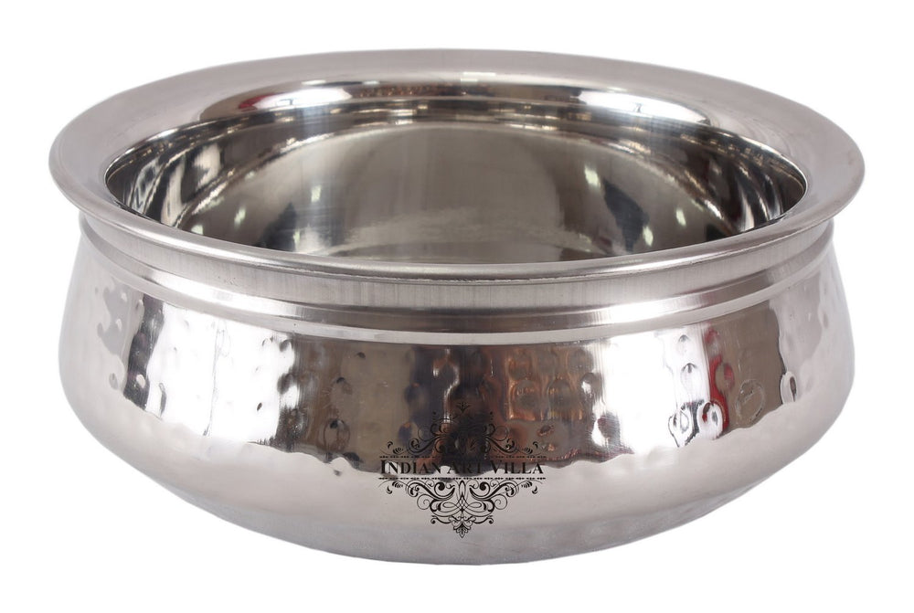 Steel Hammered Design Handi Bowl With Double Layer, 525 ML