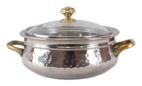 Steel Handi Brass Handle with Glass Lid|750 ML Capacity|Serving Dishes|Home Hotel