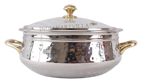Steel Handi Brass Handle with Glass Lid|1000 ML Capacity|Serving Dishes|Home Hotel