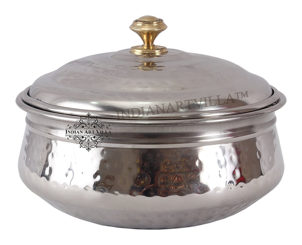 Steel Hammered Design Handi Bowl with Lid - 1000 ML