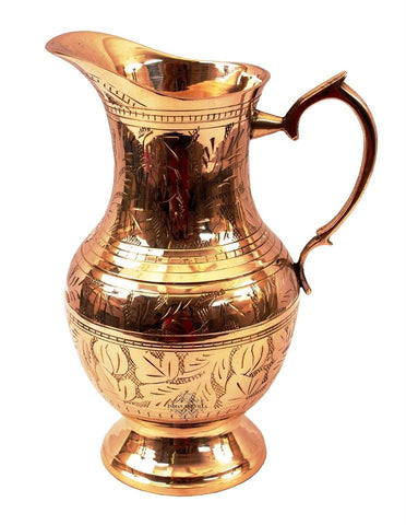 Brass Mughlai Style Designer Jug Pitcher with 6 Glass Tumbler