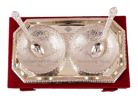 Silver Plated Designer Tray with 2 Dish Bowls 200 ML & 2 Spoons
