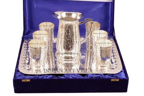 Silver Plated Designer Lemon Set of 6 Glass 1 Jug 1 Tray