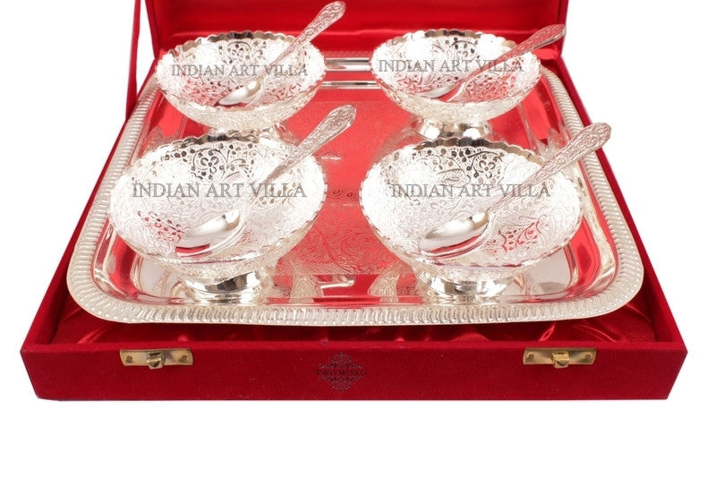 Silver Plated Designer Set of 4 Bowl 4 Spoon 1 Tray