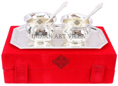Silver Plated Handmade Flower Design Bowl 200 ML 2 Spoon 1 Tray (Set of 5)