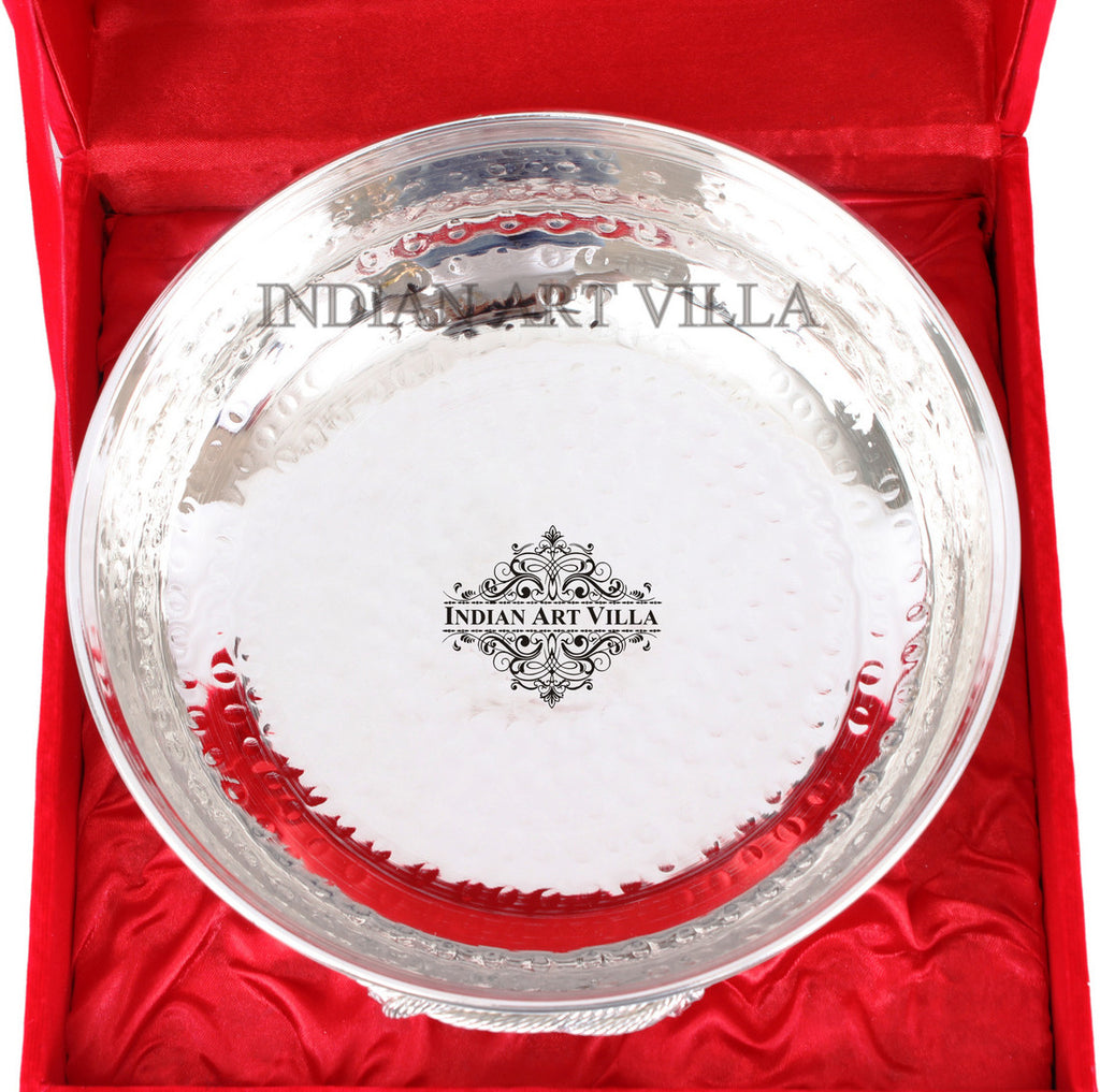 Silver Plated M Hammered Design Bowl 500 ML with Box