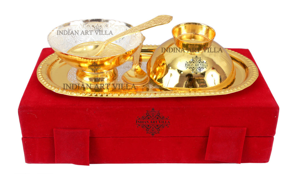 Silver Plated Gold Polished Embossed Design 2 Bowl & 2 Spoon & 1 Tray