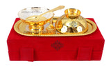 Silver Plated Gold Polished Handmade Emboss Design Desert Bowl 200 ML With 2 Spoon & 1 Tray (5 Pieces)