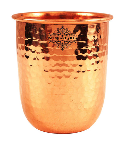 Copper Round Hammered Glass Tumbler Volume 300 ML