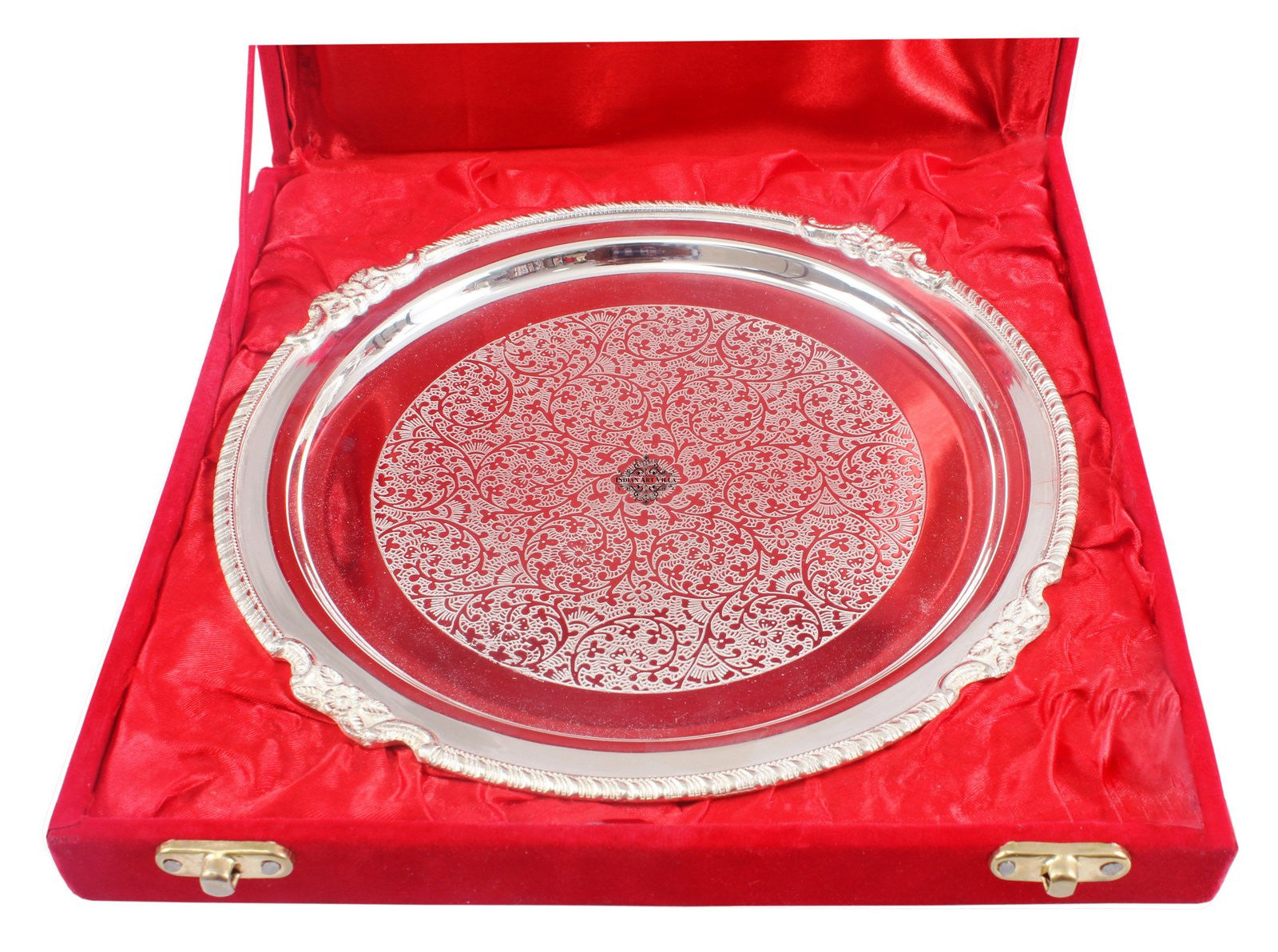 "Silver Plated Embossed Design Quarter Plate 8.5""width"