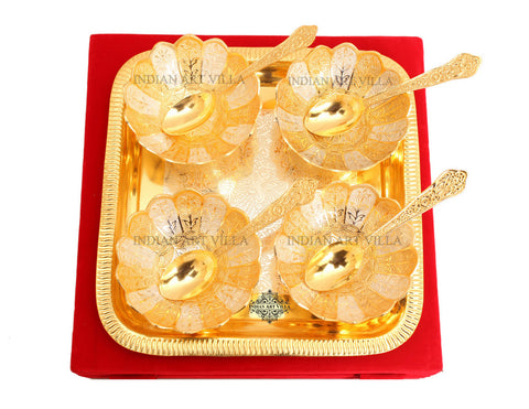 Silver Plated Gold Polish Handmade Lotus Design 4 Bowls 100 ML With 4 Spoons & 1 Tray with Gift pack (9 Pieces)