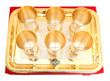 Silver Plated Gold Polished 6 Glass with 1 Tray