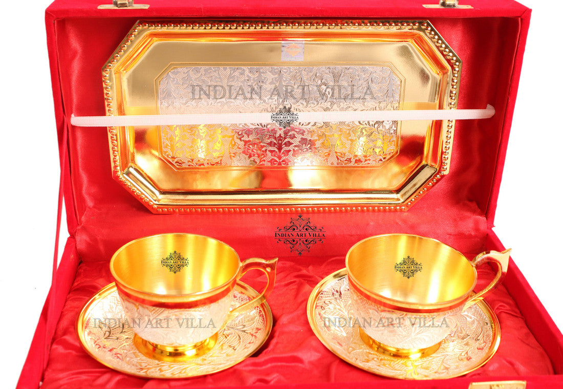 Silver Pleated Gold Polished 2 Cup Saucers with 1 Tray