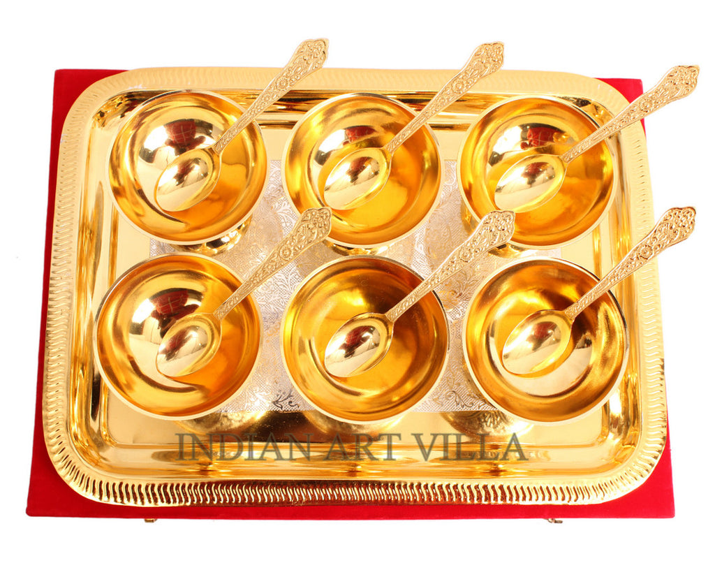 Silver Plated Gold Polished Set 6 Ice Cream Bowl with 6 spoon & 1 tray