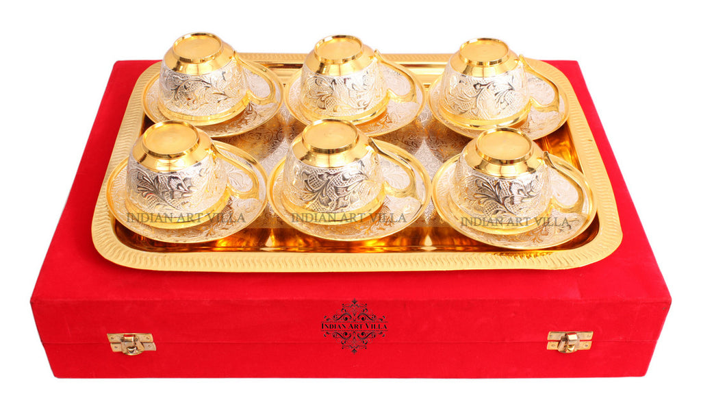 Silver Plated Gold Polished Handmade Floral Design Cup Saucer with 1 Tray  (13 Pieces)