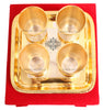 Silver Plated Gold Polished 4 Glasses with 1 tray