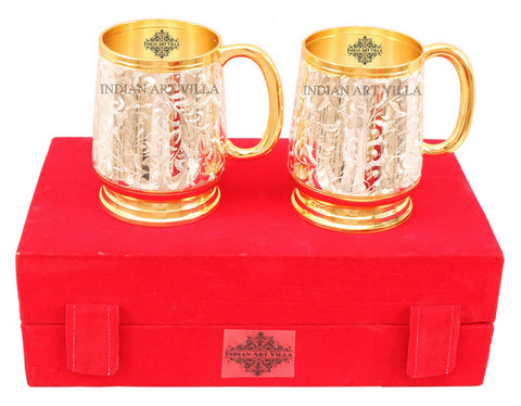 Silver Plated Gold Polished Classic 2 Beer Mug Set