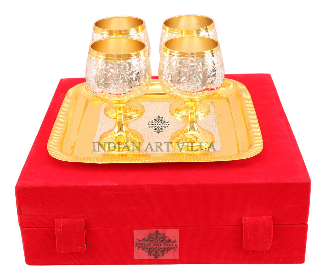 Silver Plated Gold Polish 4 Wine Glass & 1 Square Tray