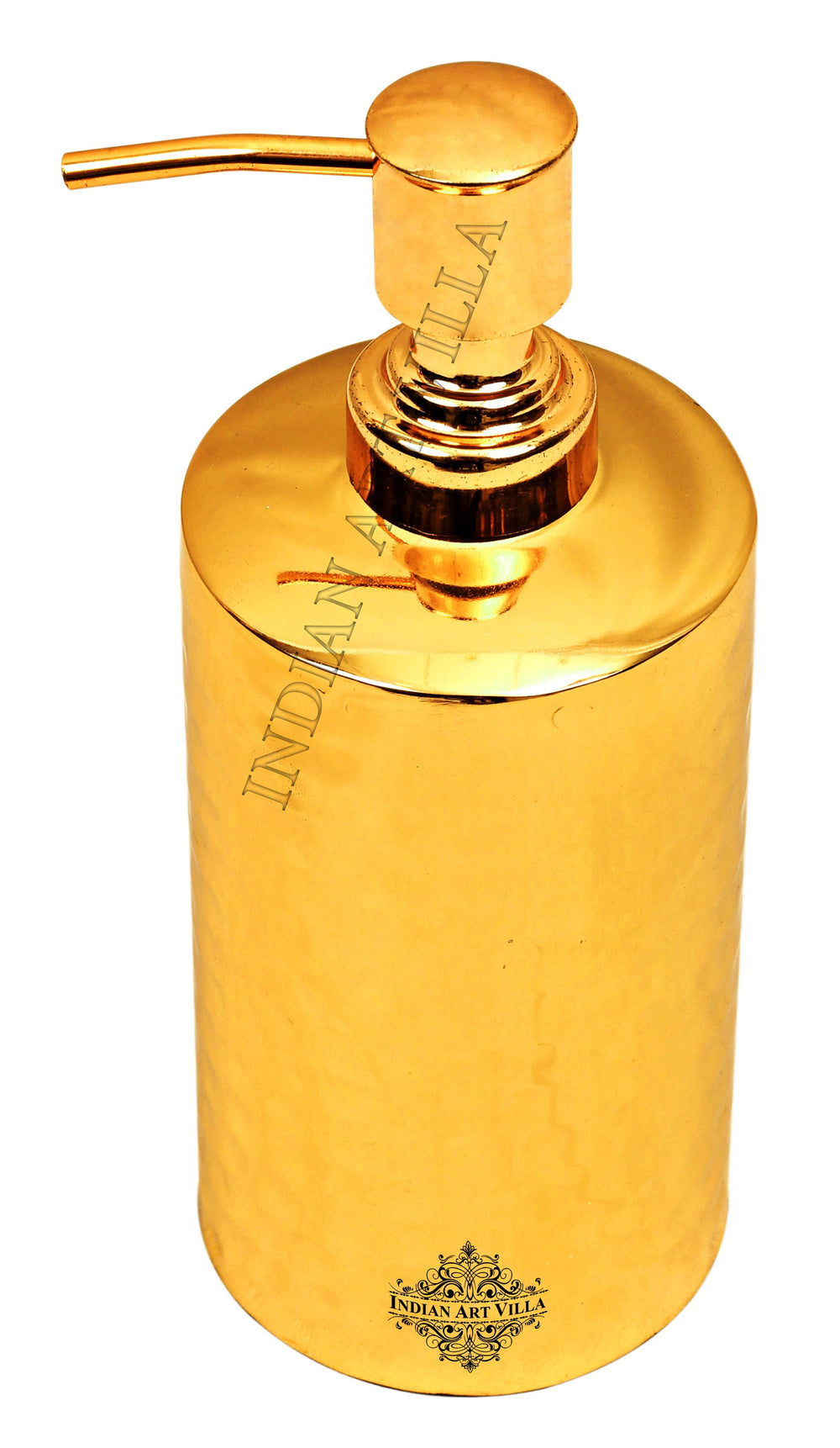 Brass Hammered Round Soap Dispenser