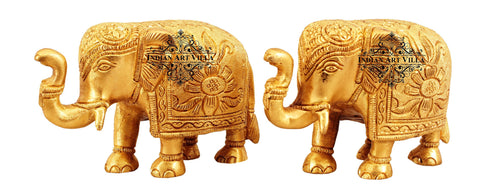 Antique Designed Brass Elephant Showpiece Miniature, Home Décor Gift Set, Set of 2