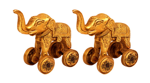 Brass Handmade Set of 2 Elephant Statue Miniature with wheel
