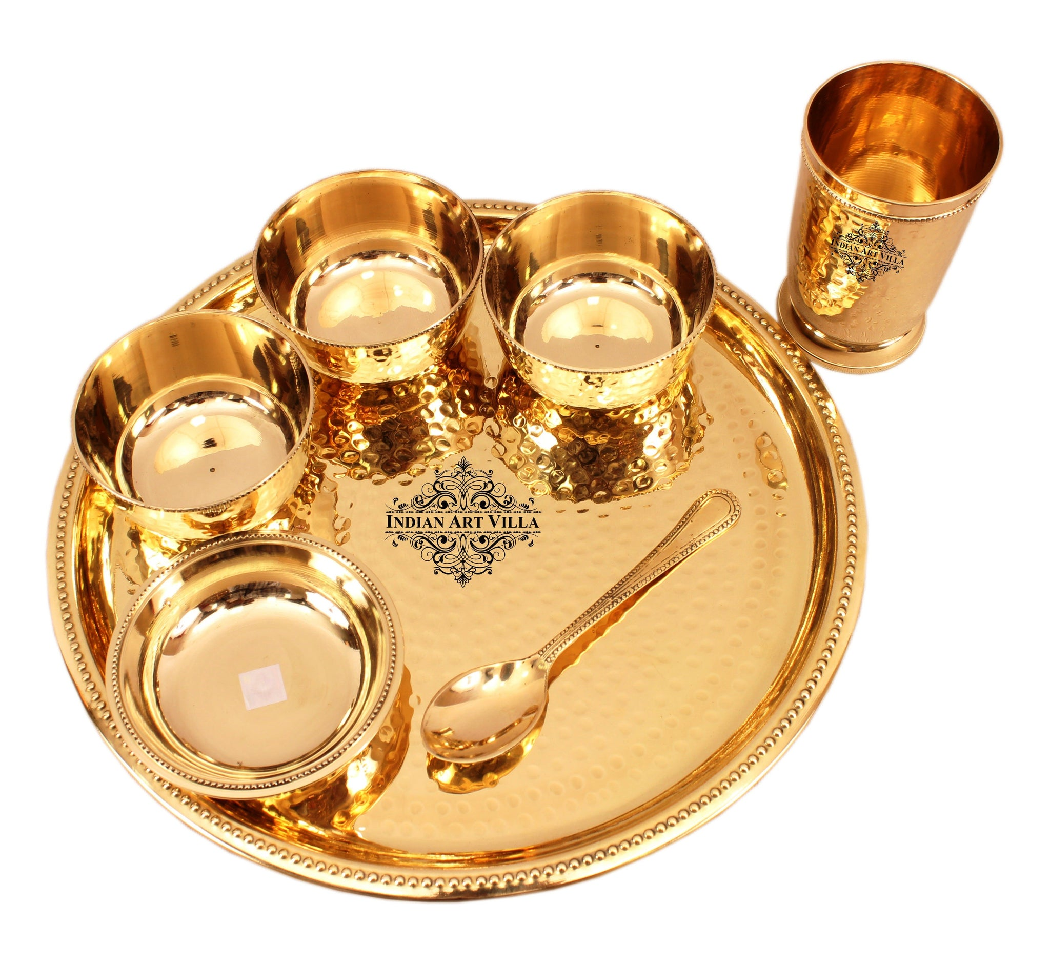 Brass Thali Dinner Set, Hammered Design, Dinner Multi Cuisine Thali Set 7 Pieces, Dinnerware