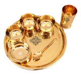 Hammered Brass Dinner Multi Cuisine Thali Set, Used as Serveware & Dinnerware, 7 Pieces