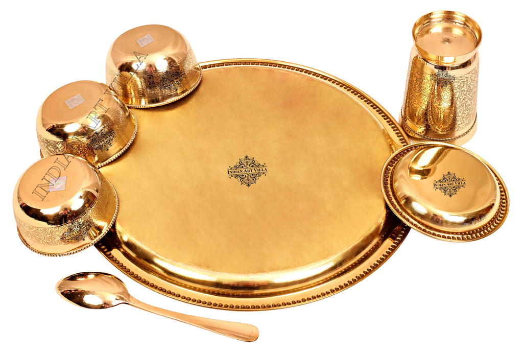 Brass Embossed Design Traditional Dinner Thali Set  ( 7 Pieces )