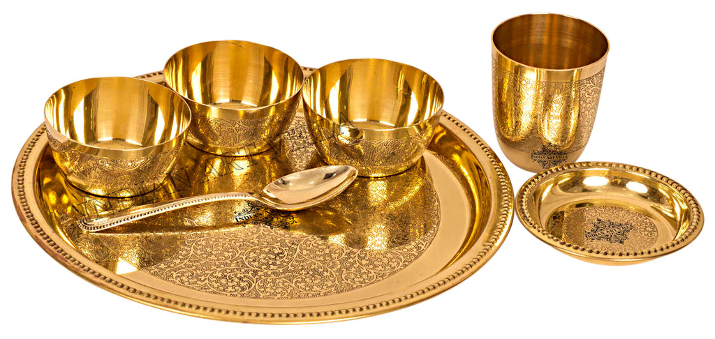 Brass Embossed Design 7 Piece Traditional Dinner Set