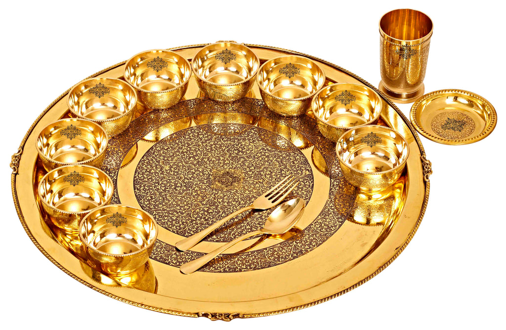 Brass Embossed 14 Piece Dinner Set
