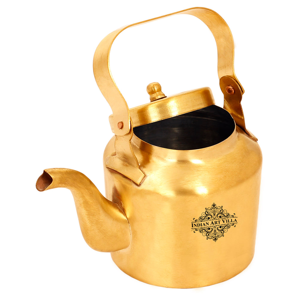 Brass Tea Kettle Pot Inside Tin Lining With 4 Glass, For serving Tea Coffee, Tableware, 350 ML, Gold
