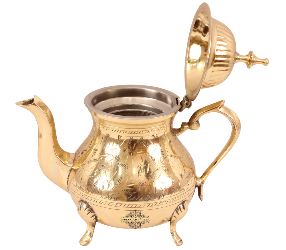Brass Mughlai Design Tea Pot with Strainer, Serving Tea Coffee