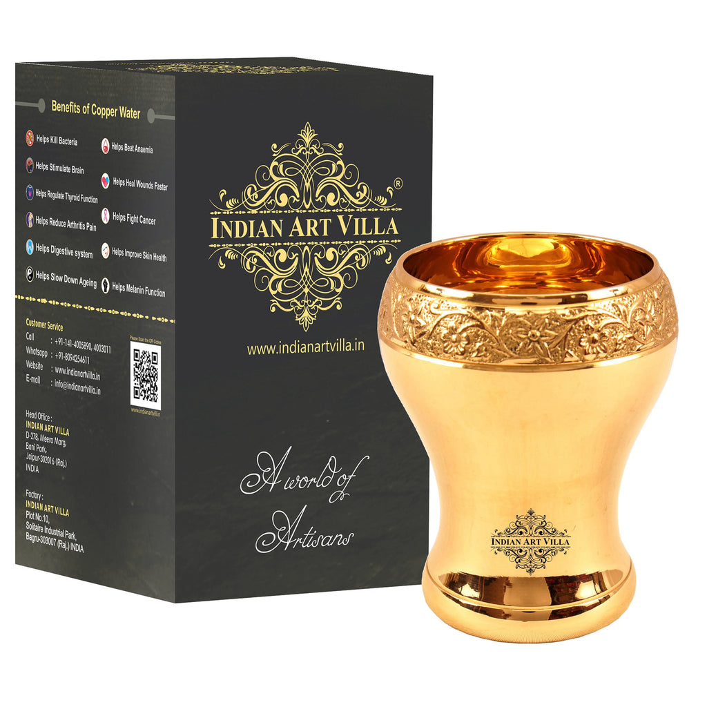 Brass Curved Design Mughlai Glass -330 ML