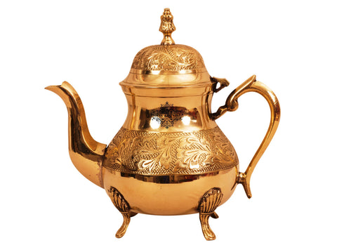 IndianArtVilla Leaf Design Brass Mughlai Tea Pot with Lid, Serving Tea Coffee