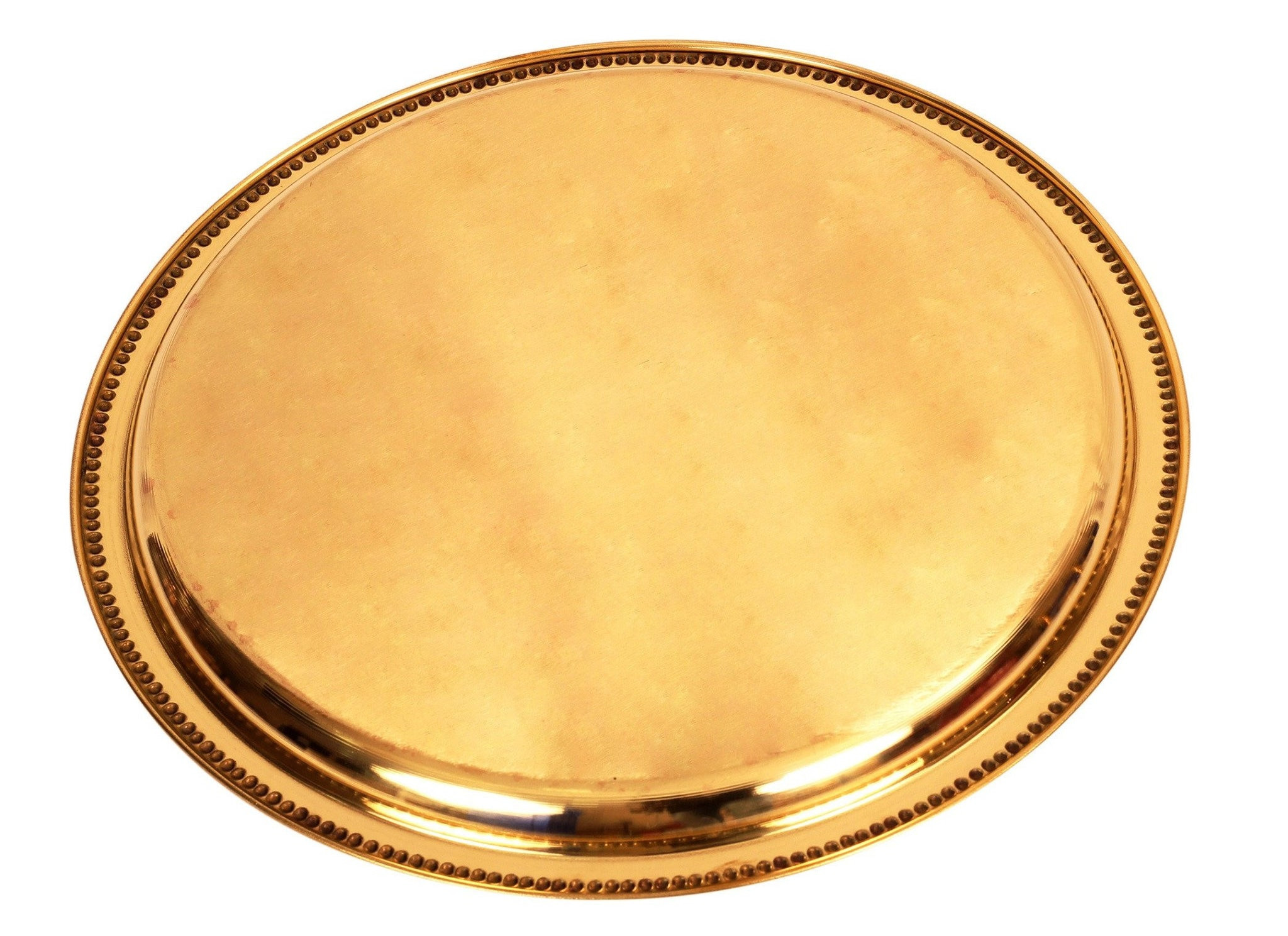 "Brass Floral Design Single Ring Plate 12""Inch Dia"