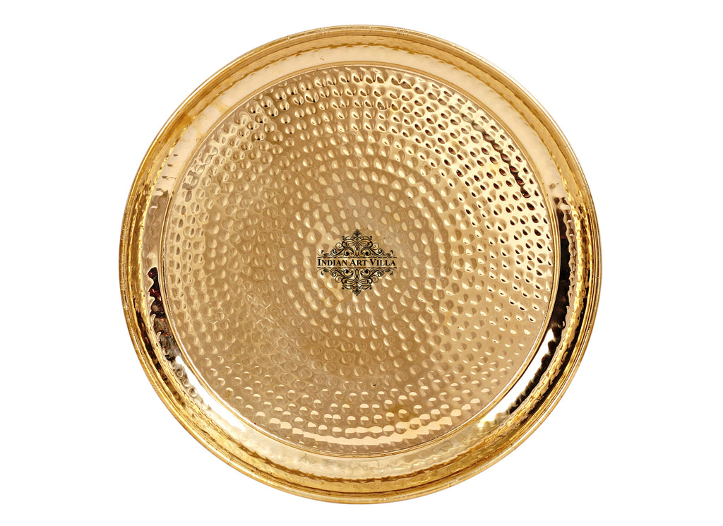 Brass Handmade Hammered Design Dinner Plate Thali