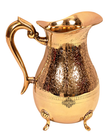 Brass Handmade Design Jug Pitcher with 4 legs 1750 ML