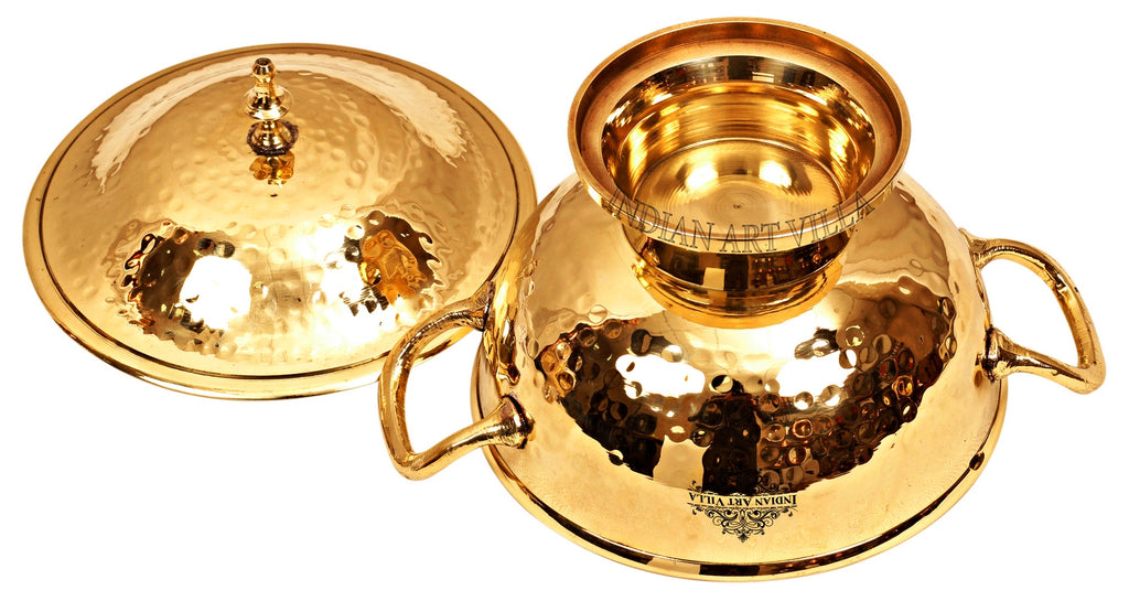 Brass Handmade Casserole Donga with Bottom