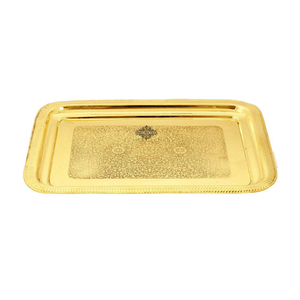 Brass Embossed Serving Tray , Serveware & Tableware, Decorative, Gift Item, Gold