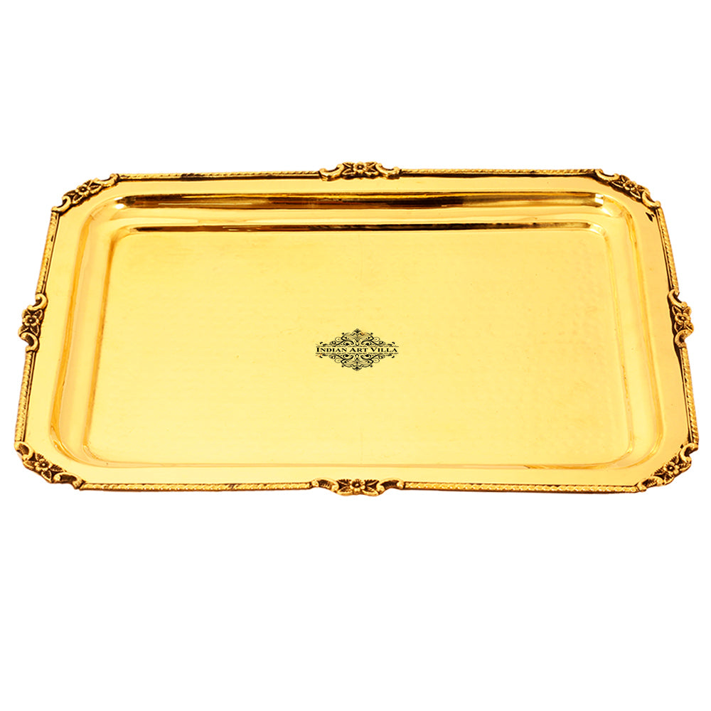 Brass Tray, Hammered Design, Rectangular Beeding Serving Tray