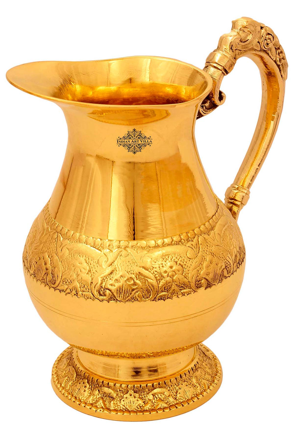 Brass Jug Pitcher, Handwork Designer, Serving & Drinking water, 1000 ML, Gold