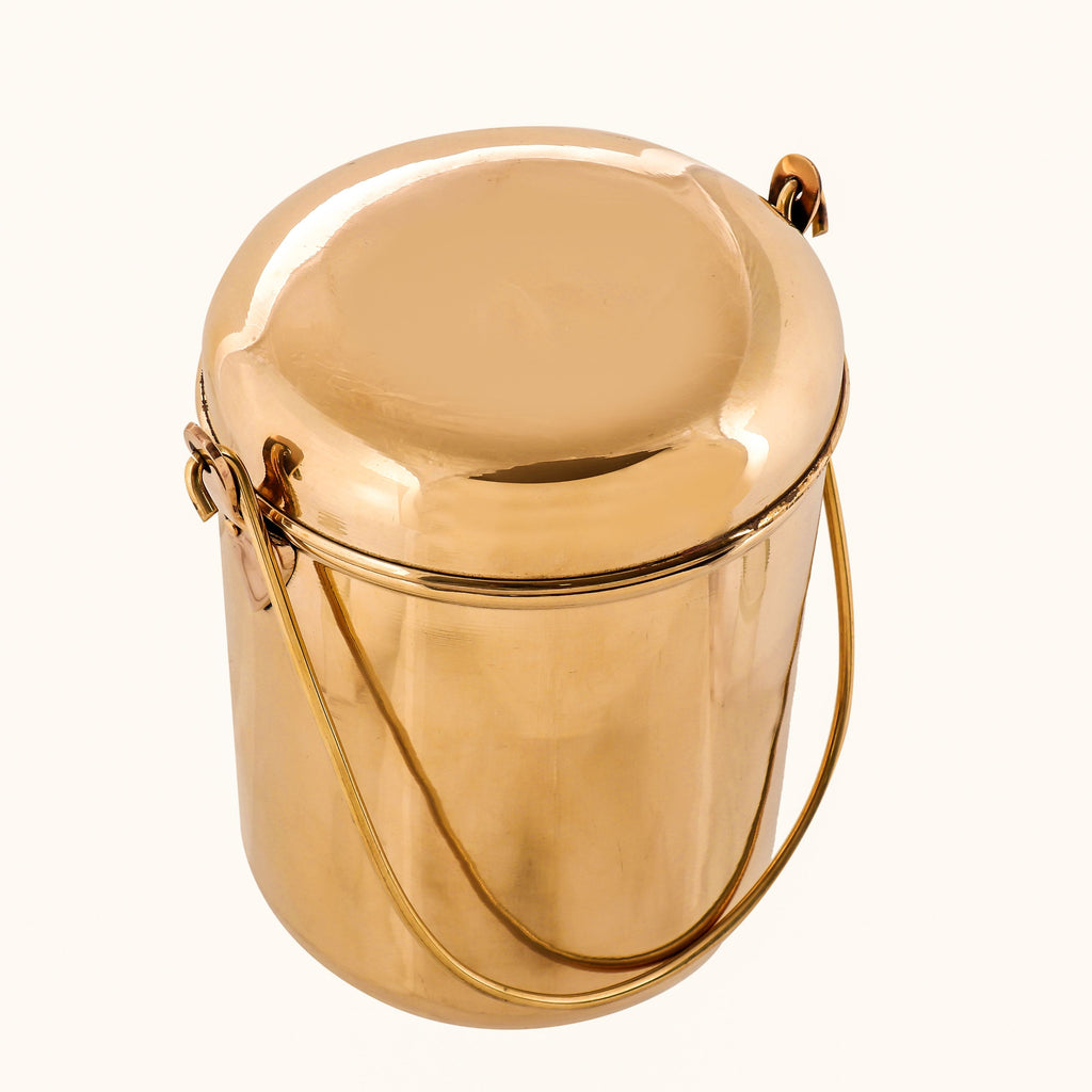 Brass Storage Container Box Canisters Dabba With Handle & Lid, Storage Purpose