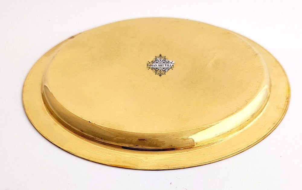 Brass Embossed Designer Shine Finish Dinner Thali Plate, Serveware & Tableware