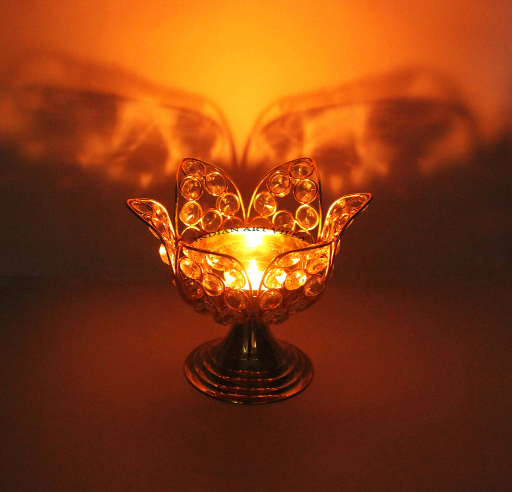 Brass Crystal Flower Design Akhand Diya Deepak