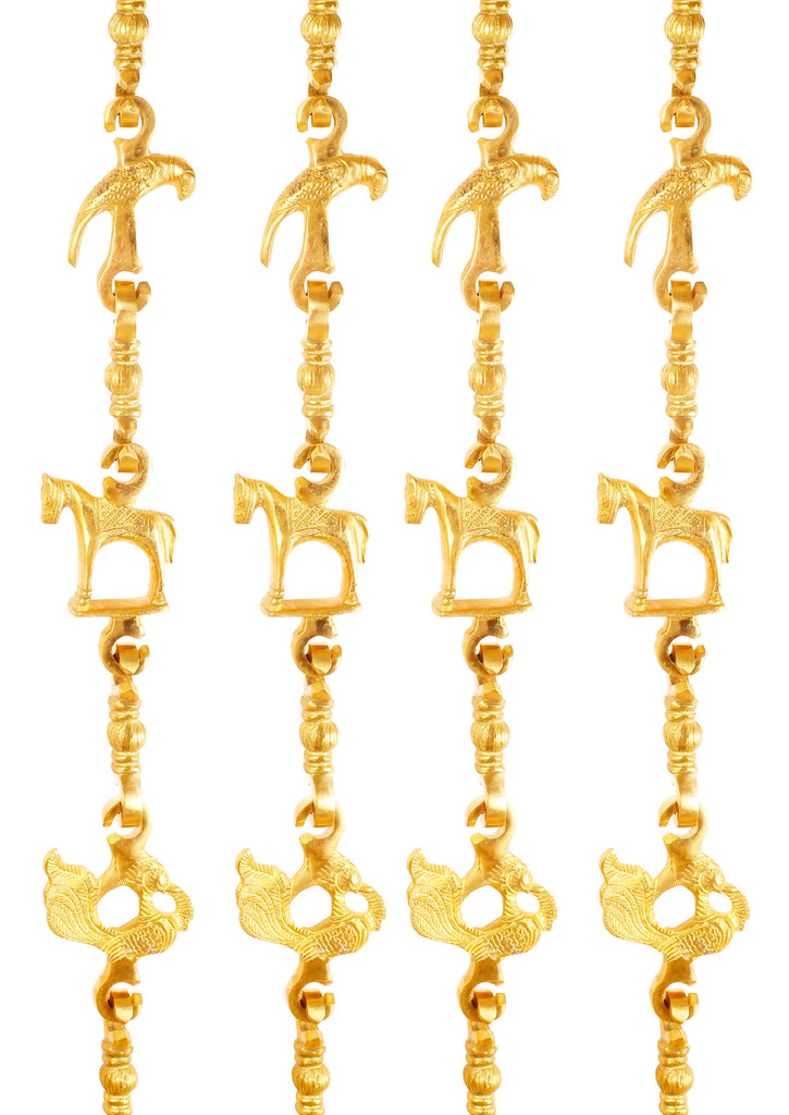 "Brass Swing Jhula Chain Design:- Parrot Horse Peacock Indoor Hanging Link Approax 73.3"" Inch Each X4, Gold, Set of 4"