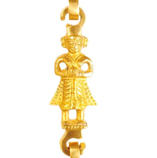 "Brass Jhula Chain Elephant, Men Guard , Peacock, Rudraksh Design, 75.2"" Inch"