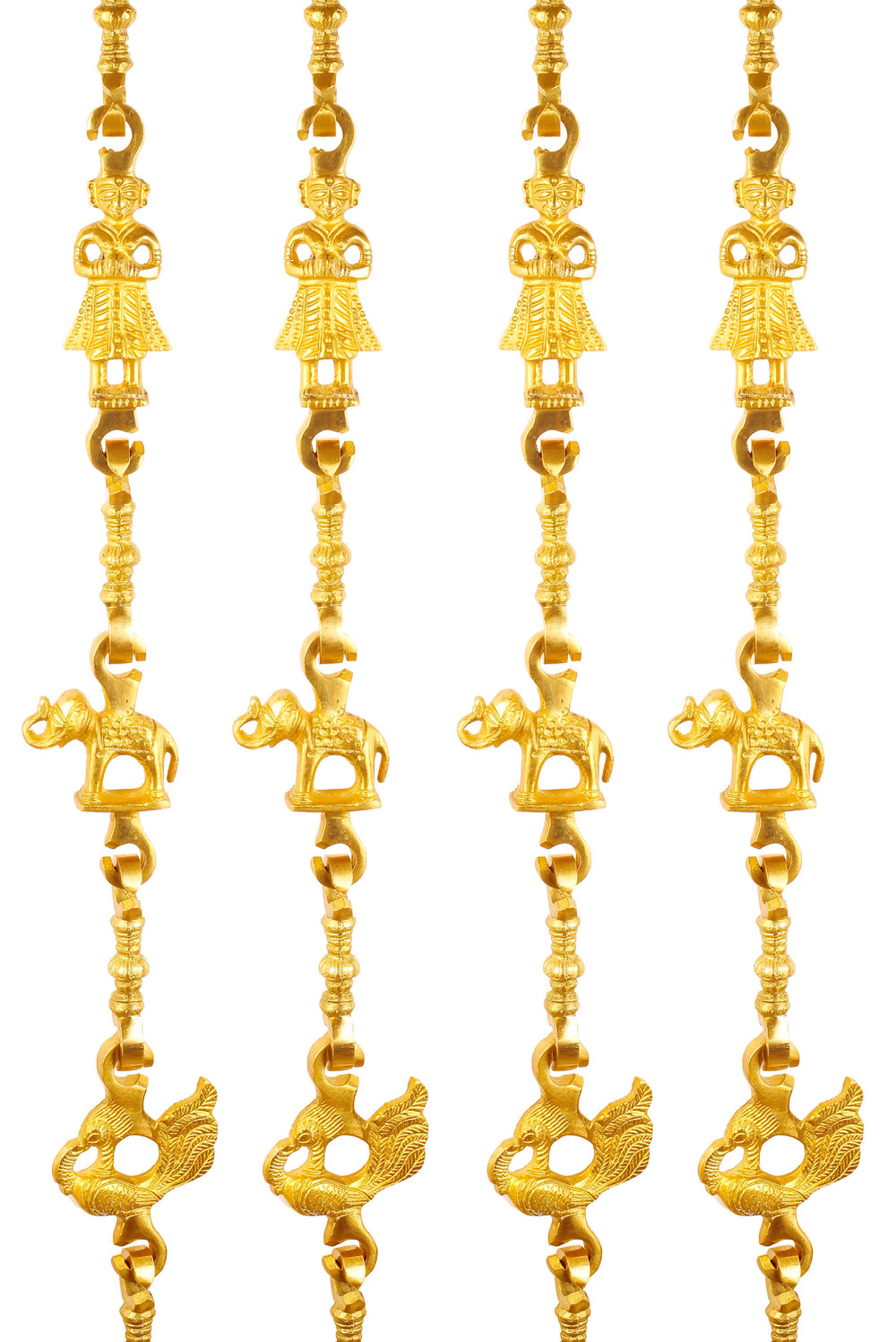 "Brass Swing Jhula Chain | Design:- Men Guard-Elephant-Peacock | Indoor Hanging Link | Approx 75.3"" Each 
