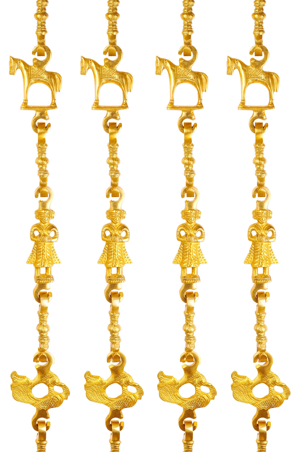 "Brass Swing Jhula Chain | Design:- Horse-Men Guard-Peacock | Indoor Hanging Link | Approx 75.3"" Each 