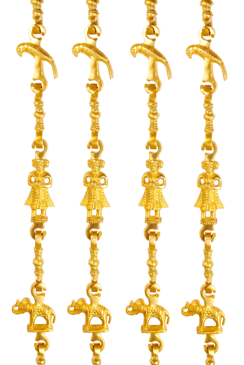 "Brass Swing Jhula Chain | Design:- Parrot-Men Guard-Elephant | Indoor Hanging Link | Approx 75.9"" Each 
